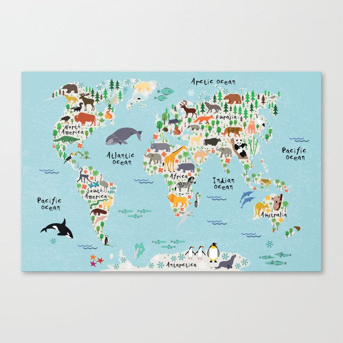 Animal world map canvas print by littleuniverseshop society6 animal world map canvas print gumiabroncs Gallery