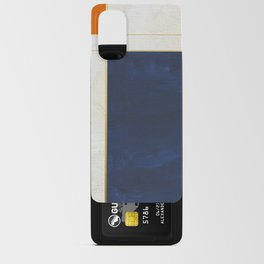 Orange, Blue And White With Golden Lines Abstract Painting Android Card Case