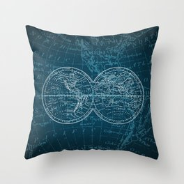 Antique Navigation World Map in Turquoise and White Throw Pillow