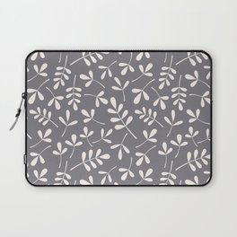 Assorted Leaf Silhouettes Cream on Grey Ptn Laptop Sleeve
