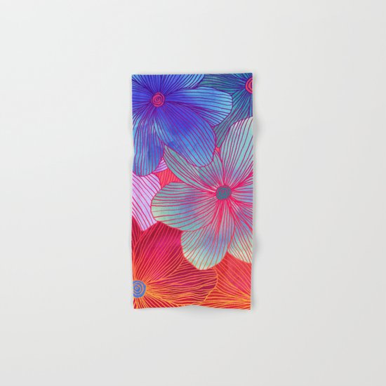 Between the Lines 2 - tropical flowers in purple, pink, blue & orange Hand & Bath Towel