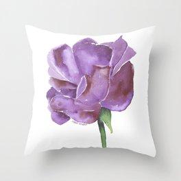 Purple Rose Watercolor Throw Pillow