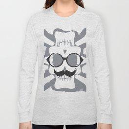 old funny skull art portrait in black and white Long Sleeve T-shirt