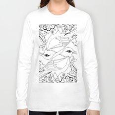 Blackbirds, Black Ink on White Long Sleeve T-shirt