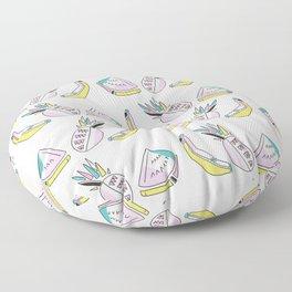 Memphis Tropical Fruit Pattern, Pinapples, Bananas, Watermelon, Seamless Floor Pillow