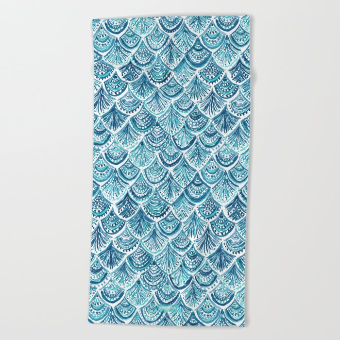NAVY LIKE A MERMAID Fish Scales Watercolor Beach Towel