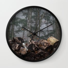 Log Pile Wall Clock