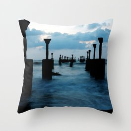 Pillars by the sea Throw Pillow