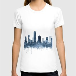 Dallas Skyline Blue Watercolor by Zouzounio Art T-shirt
