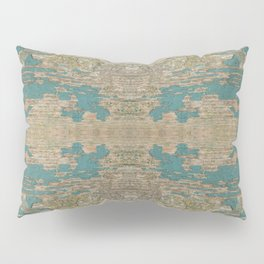 Rustic Wood - Weathered Wooden Plank - Beautiful knotty wood weathered turquoise paint Pillow Sham