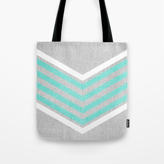 Teal and White Chevron on Silver Grey Wood Tote Bag