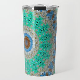 Lovely Healing Mandalas in Brilliant Colors: Blue, Brown, Teal, Silver and Gold Travel Mug