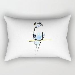 Blue and Yellow Pet Budgie Print Rectangular Pillow