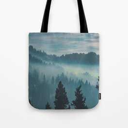 Misty Blue Watercolor Mountains Pine Trees Silhouette Minimalist Monochromatic Photo Tote Bag