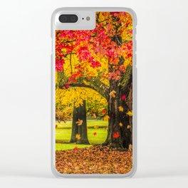 Autumn City Park Scene Clear iPhone Case