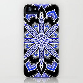 Blue Black & White Flower Mandala iPhone Case