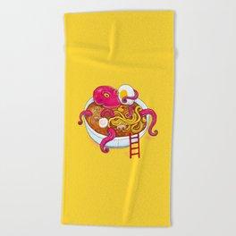Bowl of ramen with octopus taking a bath Beach Towel
