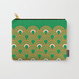 retro sixties inspired fan pattern in green and orange Carry-All Pouch