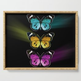 3 colorful butterflies Serving Tray