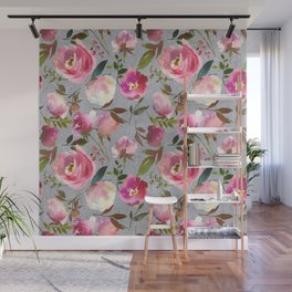 Gray blush pink coral yellow hand painted floral Wall Mural