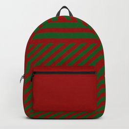 Geometric red and green christmas pattern stripes Backpack