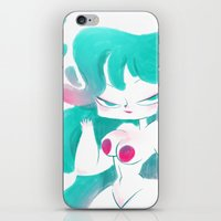 pinup iPhone & iPod Skins featuring Blue pinup by MissPaty