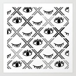 Original Black and White Eyes Design Art Print