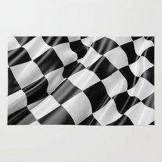 Black and White Waving Racing Flag Rug