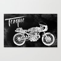 cafe racer Canvas Prints featuring Vintage Torque Cafe Racer by Mike Greenwell