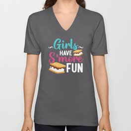 Girls Have S'more Fun Camping Graham Biscuit Unisex V-Neck