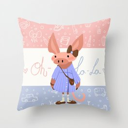 Little Missy  Aardvark in France! Throw Pillow
