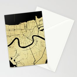 New Orleans Black and Gold Map Stationery Cards
