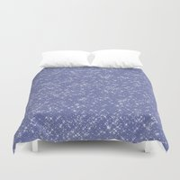 sparkles Duvet Covers featuring Purple Sparkles by Zen and Chic