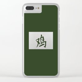 Chinese zodiac sign Rooster green Clear iPhone Case