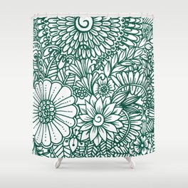 Hand drawn forest green white modern floral Shower Curtain