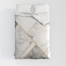 White, Grey and Gold Marble Comforters