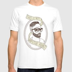 This Is Not A Hipster Print MEDIUM Mens Fitted Tee White