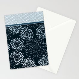 Dahlia Scallops Grey Blue Stationery Cards