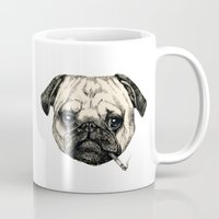 smoking Mugs featuring Smoking Pug by Beth Zimmerman Illustration