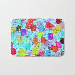 SPECKLE ME DOTTY - Bright Polka Dot Cheerful Aqua Turquoise Blue Rainbow Fine Art Abstract Painting Bath Mat