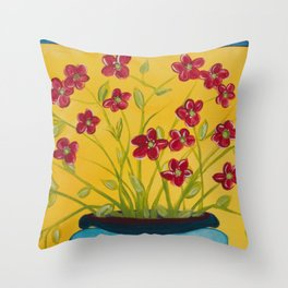 Red Flowers Blue Vase Throw Pillow
