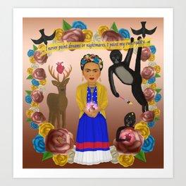 Frida Kahlo Tribute Copper Art Print