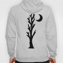 Barren Black Tree Silhouette Stars Crescent Moon Orange Hoody