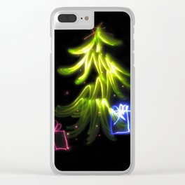 Christmas Lights a tree and presents light painting photograph Clear iPhone Case