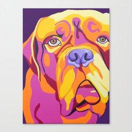 Psychedelic Pup- Bull Mastiff Pet Portrait Canvas Print
