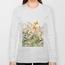 WHITE ART GARDEN ART OF YELLOW BUTTERFLIES Long Sleeve T-shirt