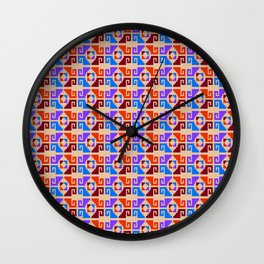 Mexican Aztec Geometric Pattern Wall Clock