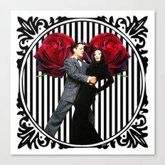 Gomez and Morticia Striped Round Canvas Print
