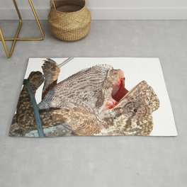 A Chameleon With Open Mouth Isolated Rug