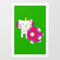 katamari Art Prints featuring Katamari Kitty by Martine Verfaillie